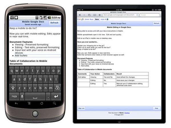 Google Docs, ya se pueden editar documentos desde móviles Android, iPhone 4 o iPad
