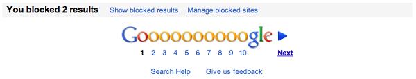 Google, la empresa incluye un botón para bloquear sitios no deseados en las búsquedas