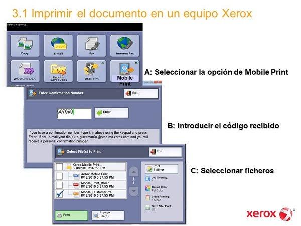 Xerox Mobile Print Solution, impresión desde móviles a