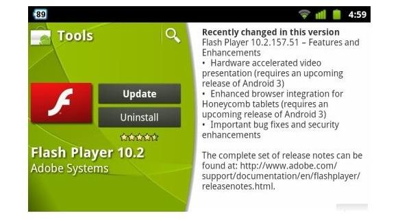 Adobe Flash 10.2 para Android, nueva versión de Flash para móviles Android