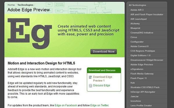 Adobe Edge permite crear animaciones en HTML5 y JavaScript