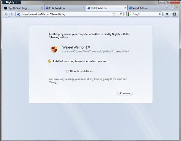 Firefox 8 evitará la instalación de complementos sin permiso