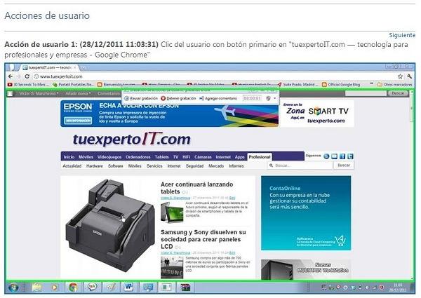 Graba los pasos anteriores a un error en Windows 7