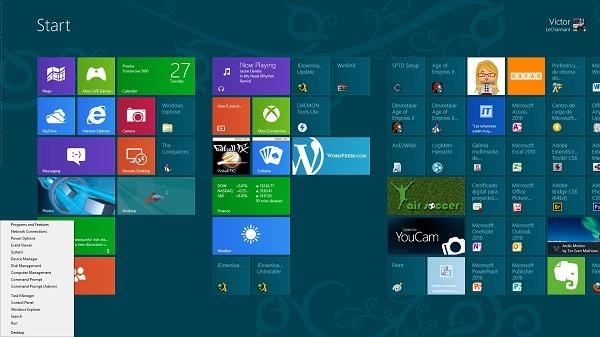 Menú de comandos avanzados en Windows 8