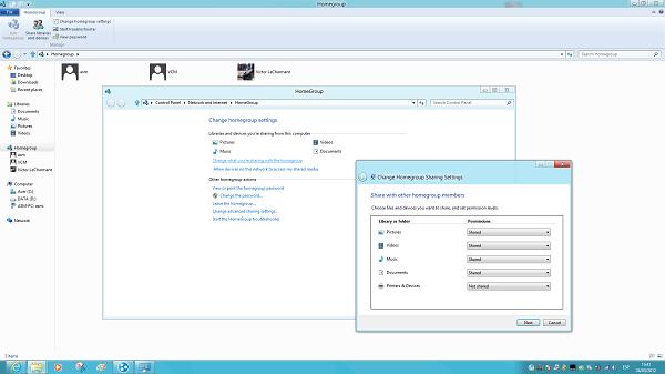 Grupo en el hogar en Windows 8