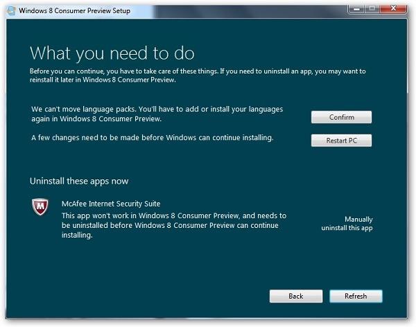 Aviso Windows 8