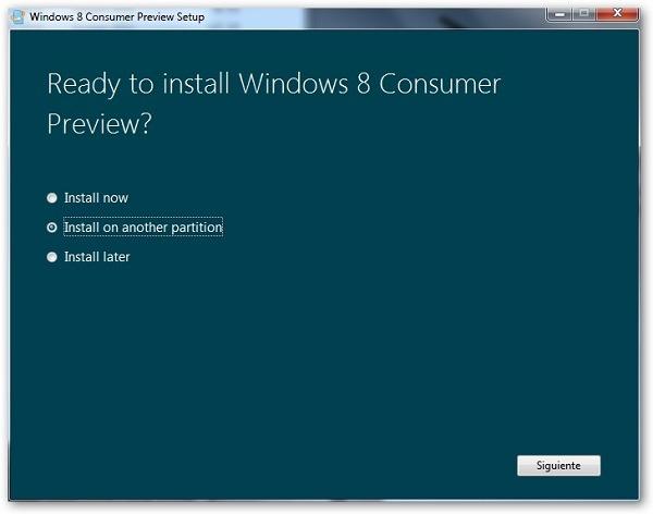 Windows 8 opciones instalación