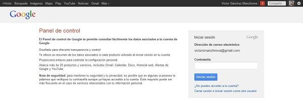 Panel de control de Chrome