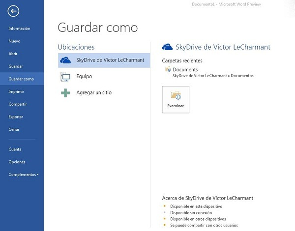 Office 2013, Cómo utilizar SkyDrive con Office 2013