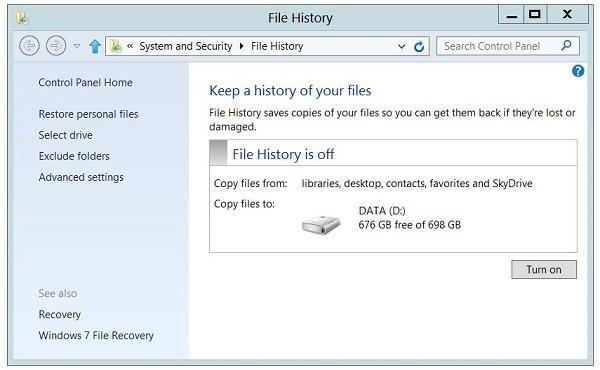 Windows 8, cómo hacer copias de seguridad de los archivos