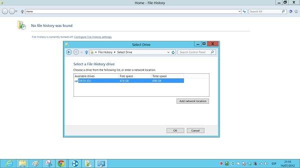 Historial en Windows 8