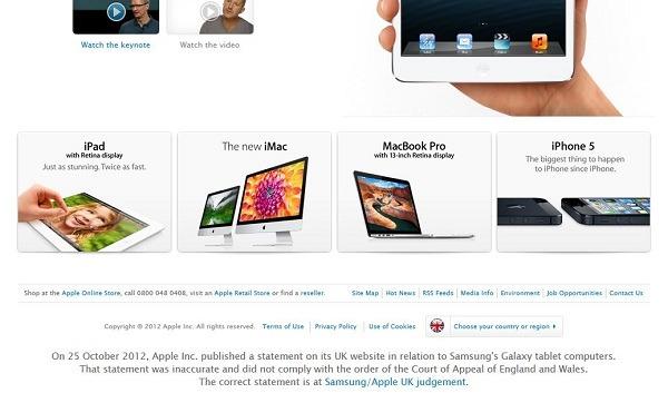 Apple «esconde» la disculpa a Samsung en su pagina web