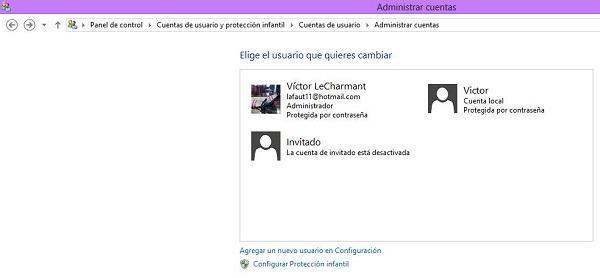 Eliminar cuentas en Windows 8